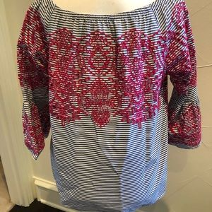 Fever Tops - Fever chambray striped top. Pink embroidery